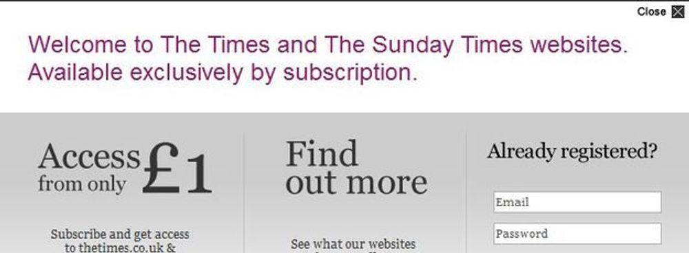 Dette skiltet møter lesere av The Times på nettet etter at de la om til betalingsmodell.