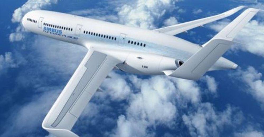 Fantasiflyet fra Airbus har «brettede» vinger og hale.