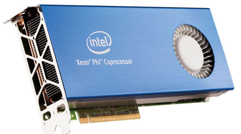 Intels Xeon Phi co-prosessor er beregnet for svært kraftige datamaskiner. Det installeres på samme måte som grafikkort, altså via PCI Express-grensesnittet.