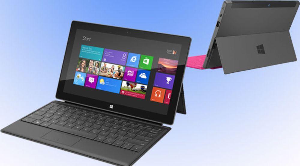 Microsoft Surface leveres med avtakbart tastatur, og markedsføres som en pc. Den enkleste utgaven kommer på markedet samtidig med Windows 8, det vil si til høsten.