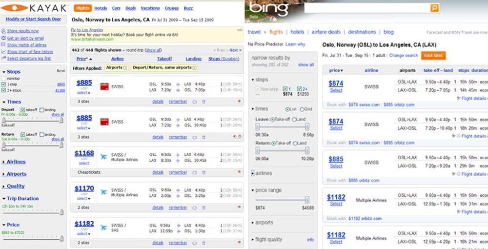 Det er liten tvil om at Bing Travel har mye felles med Kayak.