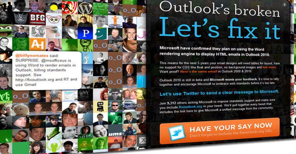 «Hør på oss, Microsoft» Tusener av brukere ber om bedre støtte for webstandarder i neste versjon av Outlook.
