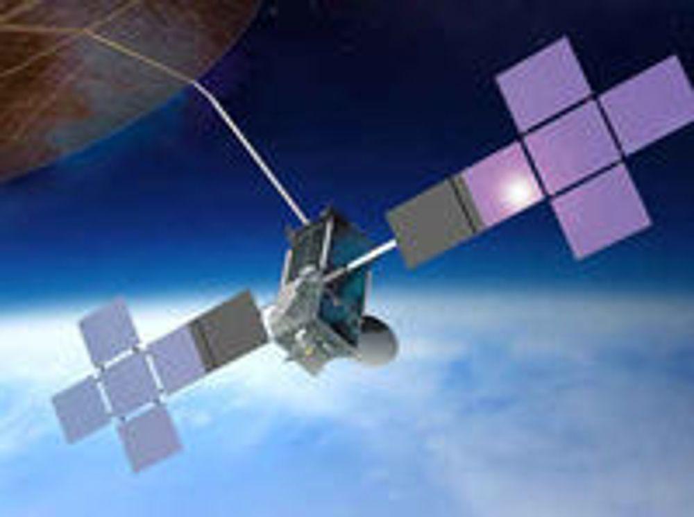 TerreStar-1 er verdens største sivile telekom-satellitt. Øverst til venstre skimtes den utfoldede antenne med en diameter på 18 meter.