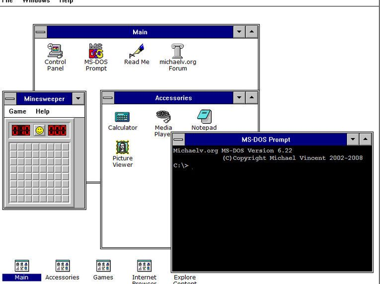 Michael Vincents webbaserte utgave av Windows 3.1.