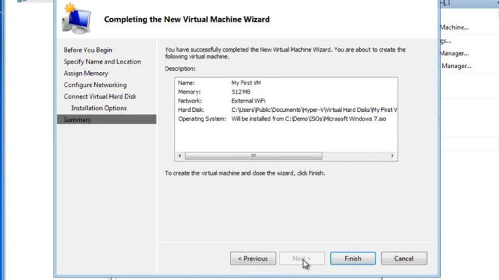 Brukergrensesnittet for opprettelse av virtuell maskin i Hyper-V og Windows 8.