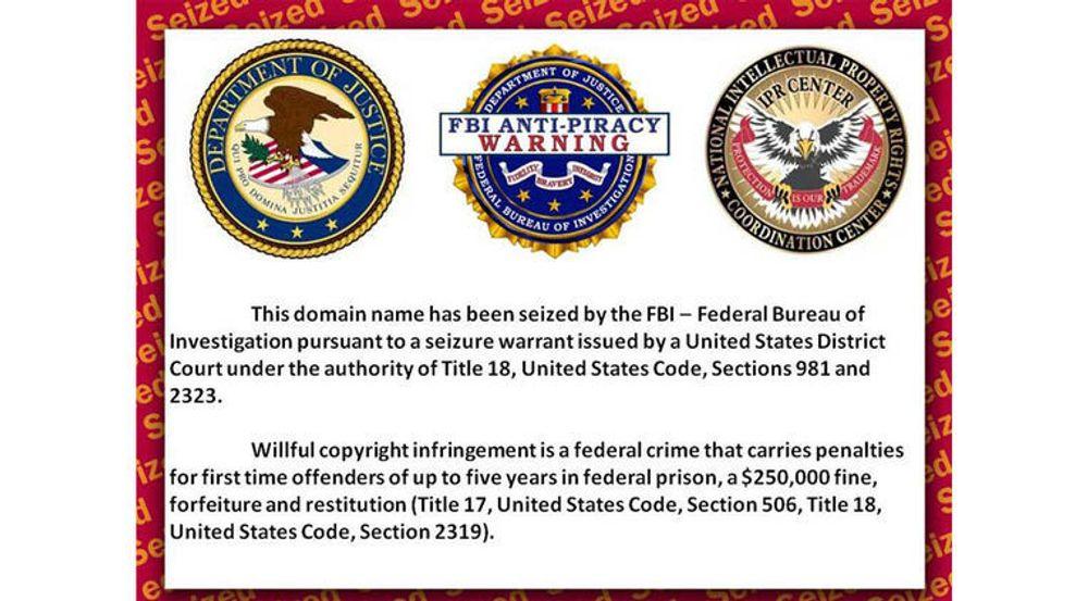 Nettsted stengt av FBI på grunn av piratkopiering