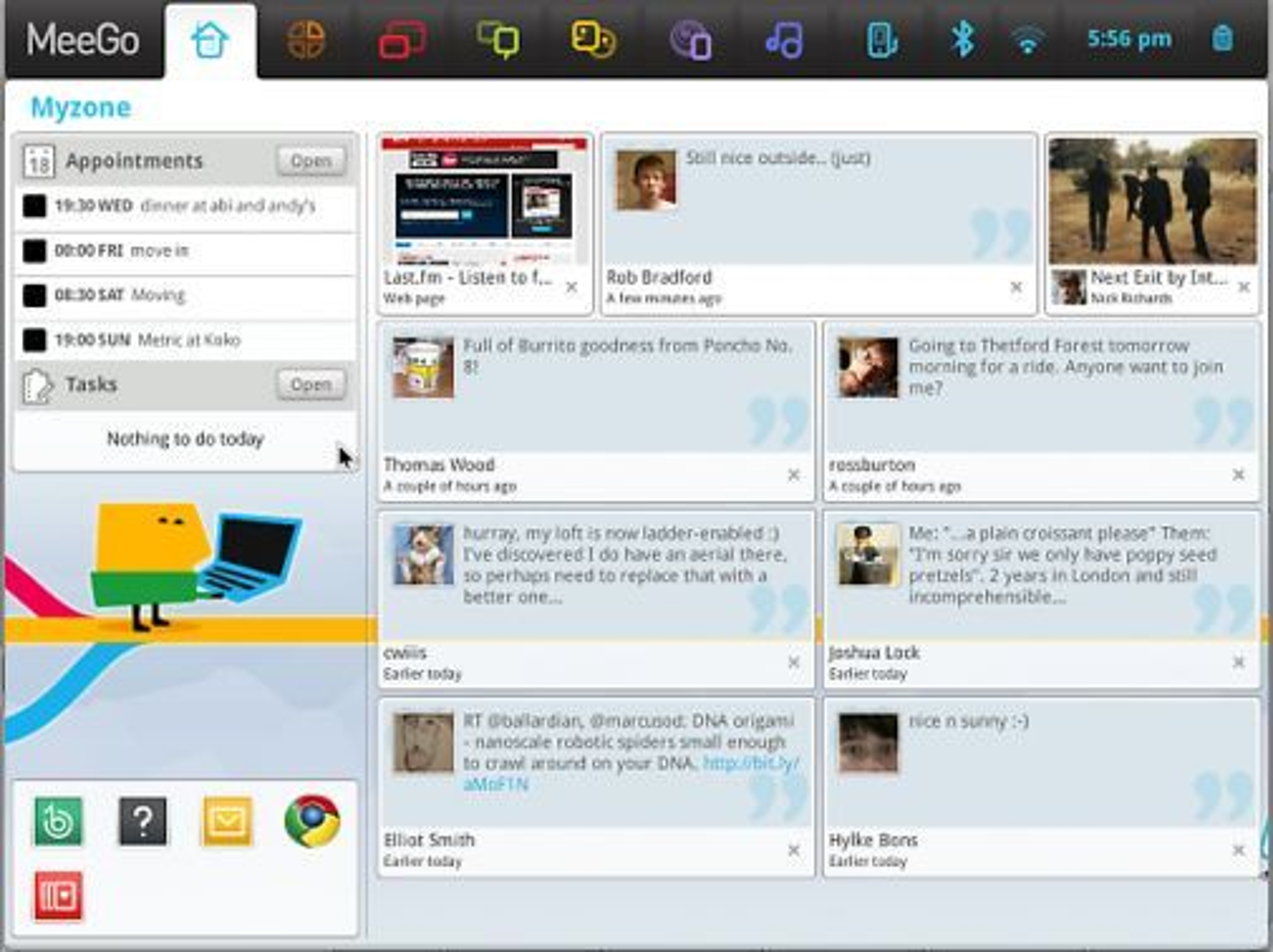 Myzone-delen av brukergrensesnittet til MeeGo 1.0 for Netbook.
