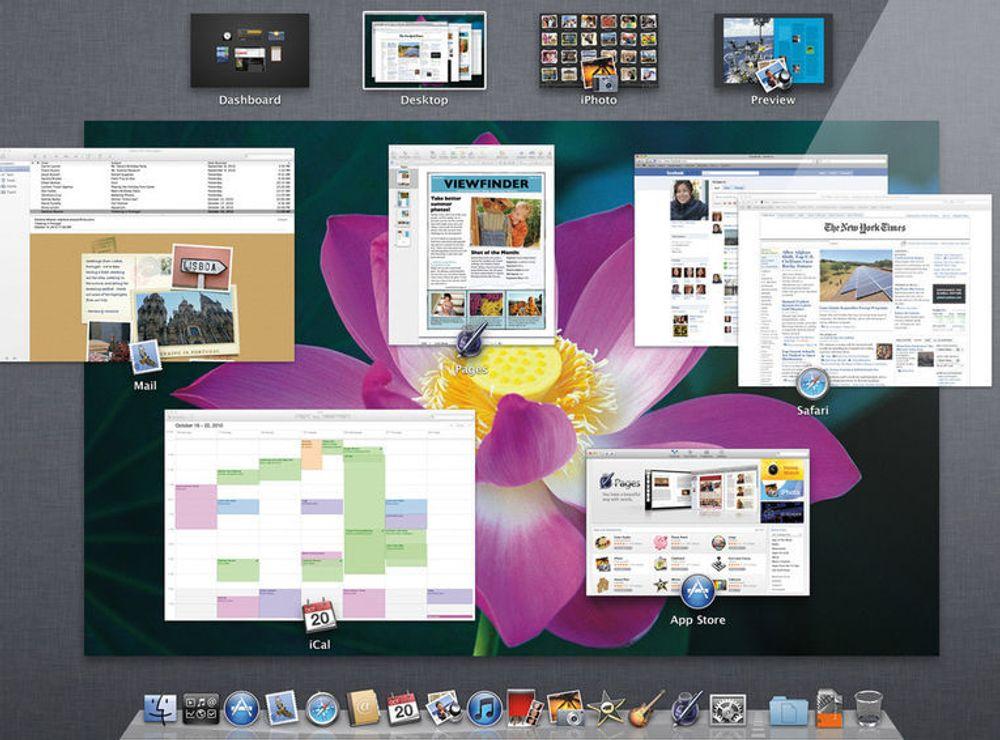 Mission Control-funksjonen i Mac OS X Lion.