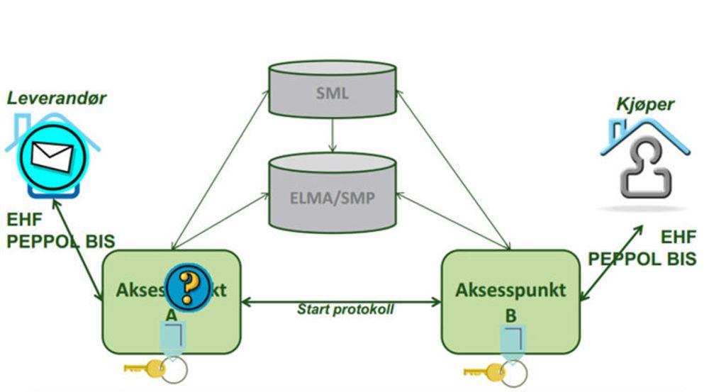 PEPPOL-infrastrukturen bygger på et nettverk av aksesspunkter. Leverandør sender fakturaen til sitt aksesspunkt, som slår opp i en katalog (ELMA er den norske katalogen) for å hvilket aksesspunkt kjøperen bruker, og sender fakturaen til dette aksesspunktet. PEPPOL BIS er EUs fakturaformat. Det norske formatet EHF tilfredsstiller PEPPOL BIS, men inneholder tillegg som følge av særnorske regler.