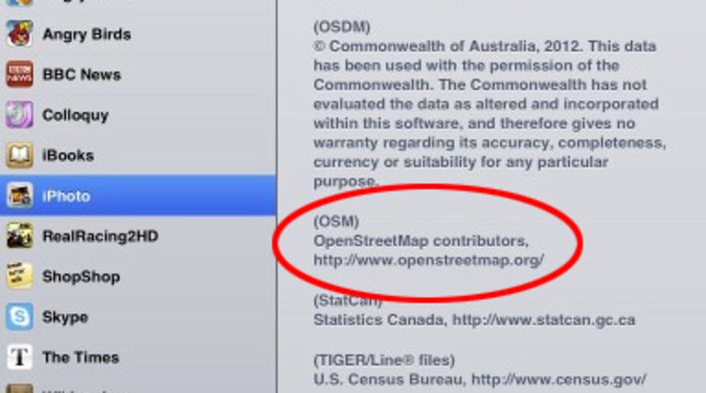 Apple krediterer nå OpenStreetMap for kartene i iPhoto-applikasjonen.