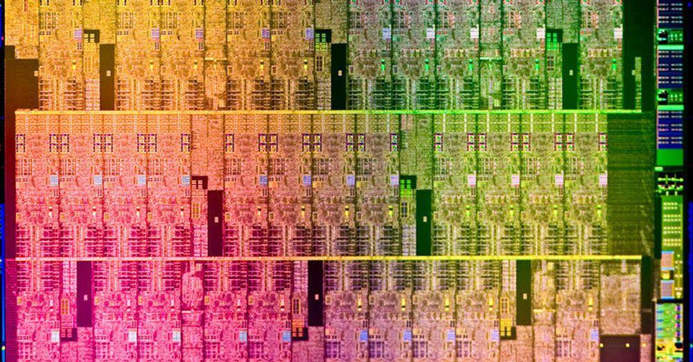 Utsnitt av den mangekjernede Aubrey Isle-brikken som er sentral i den kommende Many Integrated Core-arkitekturen fra Intel.
