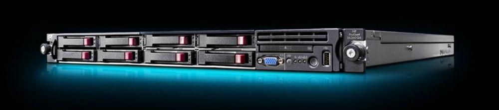 HP Proliant DL360 tilbyr doble Xeon 5500, åtte disker, og opptil 144 GB DDR3 minne.