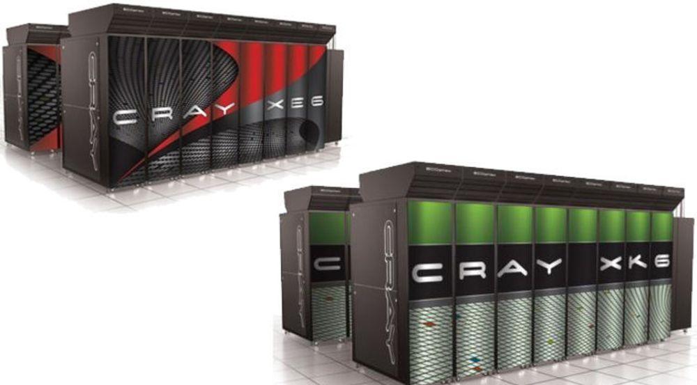 Supermaskinen Blue Waters skal bestå av over 235 kabinetter av typen Cray XE6 (øverst til venstre), med over 49.000 Opteron 6200-prosessorer, og 30 kabinetter av typen Cray XK6, med over 3000 Nvidia Tesla grafikkprosessorer.