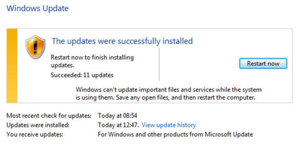 Windows må startes på nytt etter at oppdateringene har blitt installert.