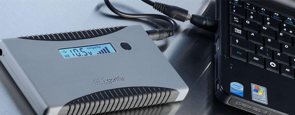 Minigorilla lader alt fra netbooks til mobiltelefoner, videokameraer og fotoapparater. Den bærbare multiladeren er selv et batteri, som kan kan lade opp annet elektronisk utstyr som krever opptil 19 volt.