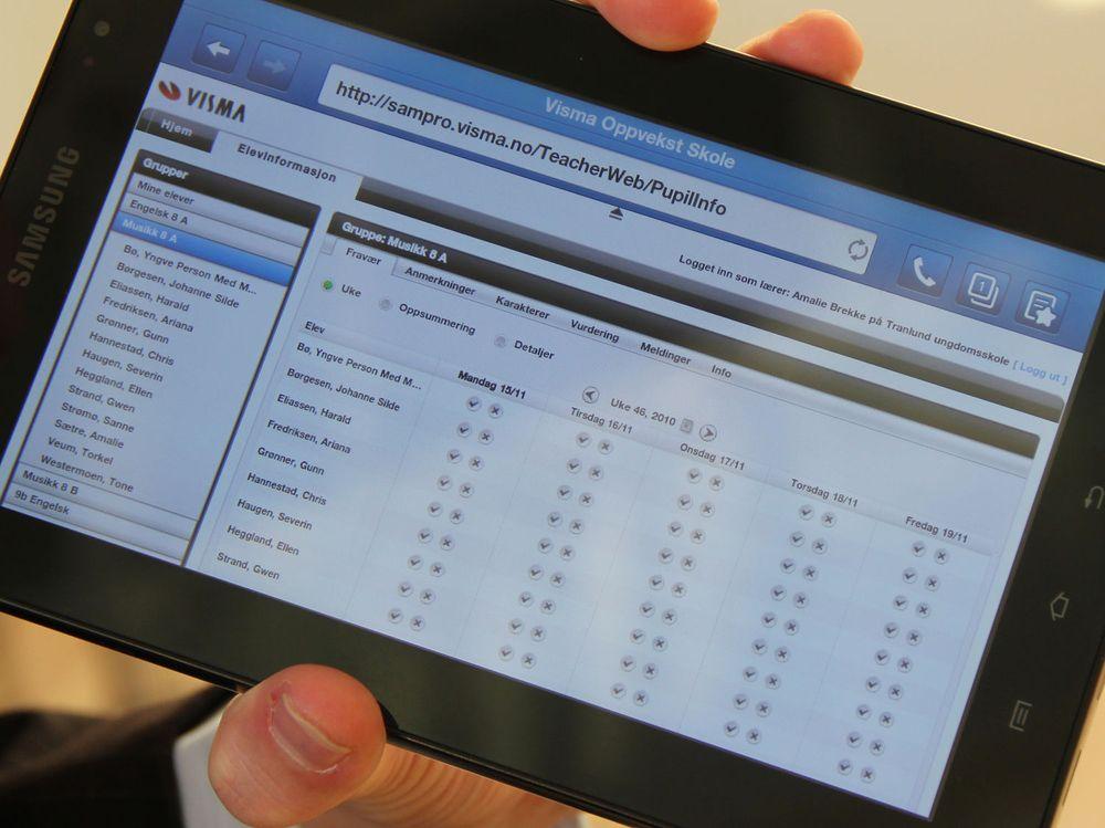 HTML5-versjonen av Visma Oppvekst Skole fungerer også godt på nettbrett som Samsungs Galaxy Tab.