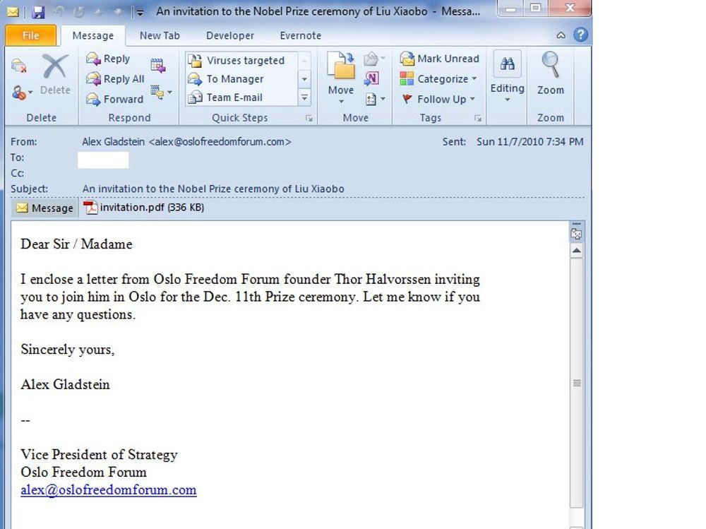 Denne falske innbydelsen sirkulerer nå internasjonalt. Den vedlagte pdf-en inneholder smittsom og ondsinnet kode.