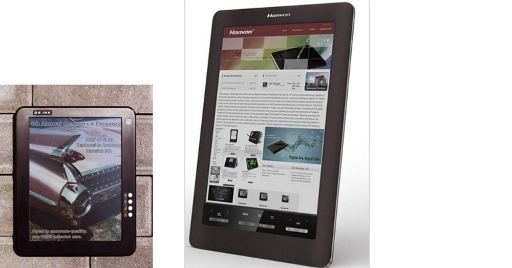 To eksempler på lesere med fargeskjerm fra E Ink: E Ink-prototyp til venstre, leser i A4-format fra den kinesiske leverandøren Hanvon til høyre.
