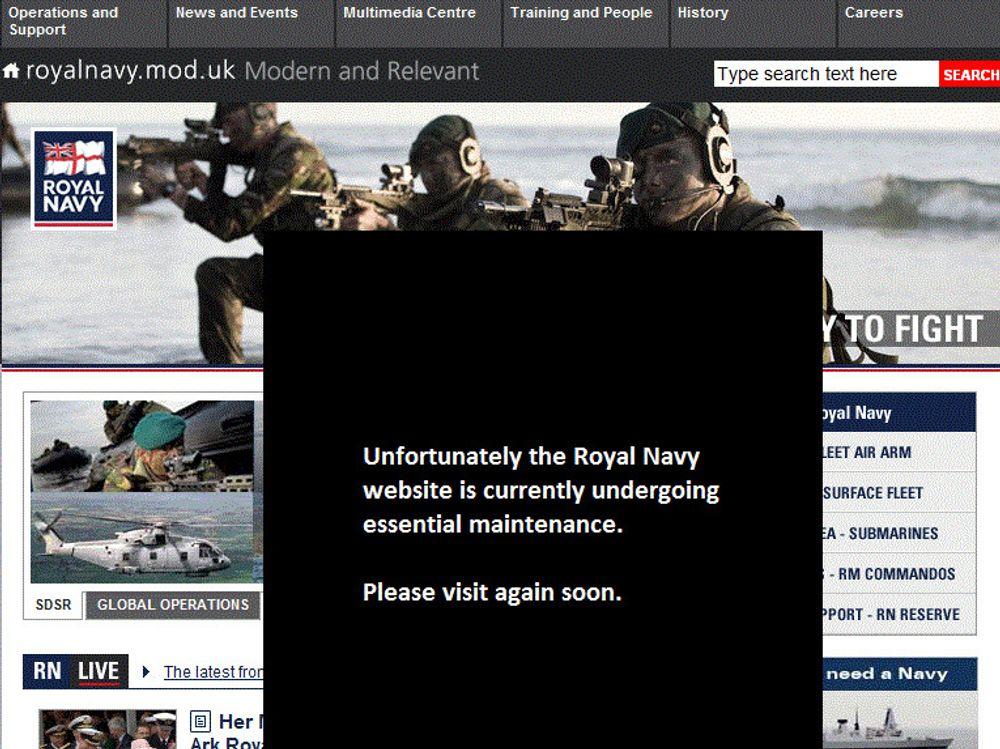 Flere døgn etter hackingen, er nettstedet til Royal Navy fortsatt nede.