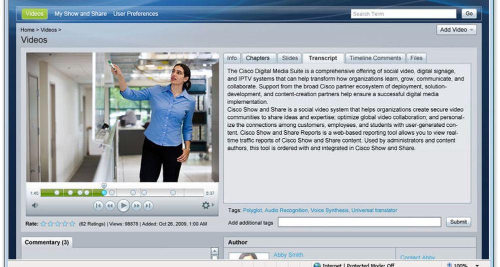 Cisco «Show and Share» lar bedrifter og partnere dele høyoppløselige videoer gjennom et web-basert grensesnitt. Tekst i videoen transkriberes automatisk og vises her i vinduet til høyre for selve videoen. Tjenesten sørger for at den transkriberte teksten indekseres og gjøres søkbar. Under skimtes typiske felt for sosiale tjenester, som kommentar og opplysninger om forfatteren.