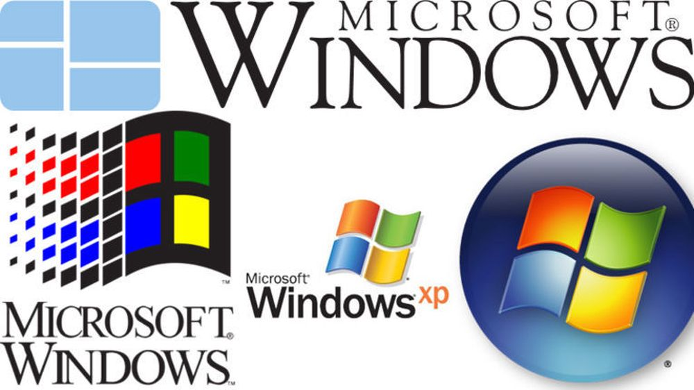 Historiske Windows-logoer. Øverst vises logoen til Windows 1.0. Nederst, fra venstre vises logoene til henholdsvis Windows 3.1, Windows XP og Windows Vista.