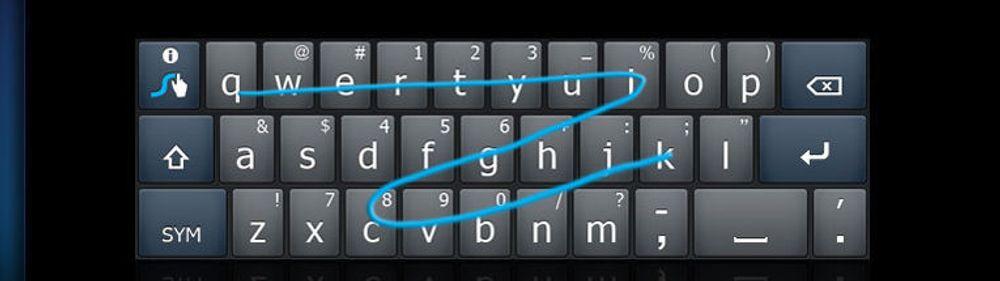 Swype er innstilt på «engelsk», og tolker denne raske fingerbevegelsen fra «q» til «k» som ordet «quick». For å skrive et alternativ, for eksempel «quack», hadde fingertuppen sklidd fra «u» til «a» og så til «c», i stedet for fra «u» til «i» og så «c».
