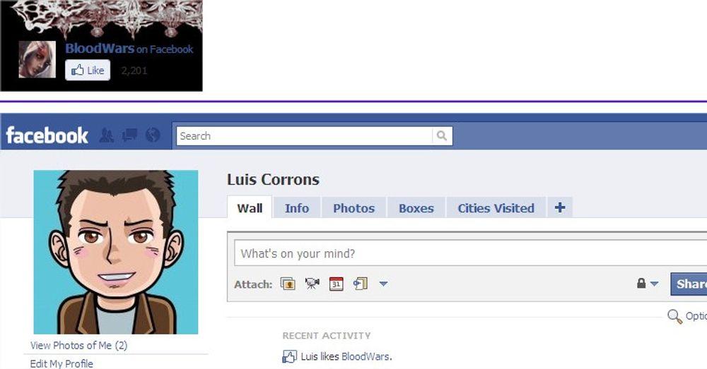Disse skjermdumpene viser hvordan «Like»-knappen på Facebook er ment å fungere. Øverst: Knappen slik den vises på nettsiden til spillet BloodWars. Nederst: Oppdateringen av Facebook-siden til Luis Corrons utløst av klikket på Like-knappen: På «Wall», under «Recent Activity», opplyses det at «Luis likes BloodWars».