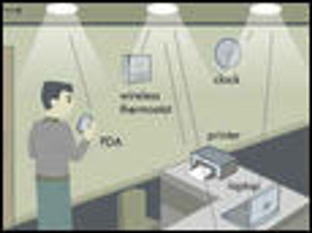 Smart LED-belysning fungerer som aksesspunkter for det trådløse datanettverket i rommet.