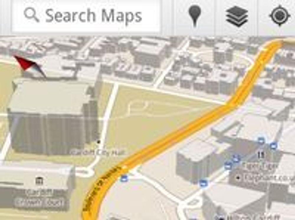 3D-visning av Cardiff Castle i Google Maps 5.0 for Android.