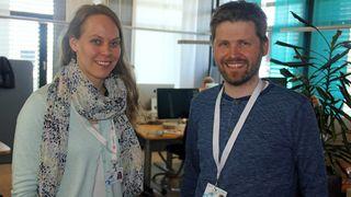 Ingrid Ødegaard og Svein Yngvar Willassen. Bildet er tatt da digi.no besøkte Appear.in sommeren 2015.