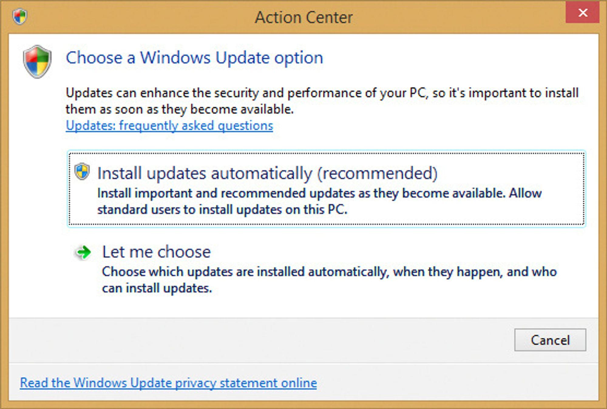 Windows Update - valg av automatisk oppdatering