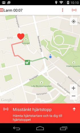 Hjertestansappen til UMS - varsling vises.