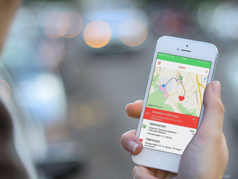 UMS har utviklet en mobilapp i samarbeid med svenske HLR-rådet som kan varsle brukere som befinner seg i nærheten av noen som plutselig har fått hjertestans. Selskapet håper at noe tilsvarende også kan tilbys i Norge.