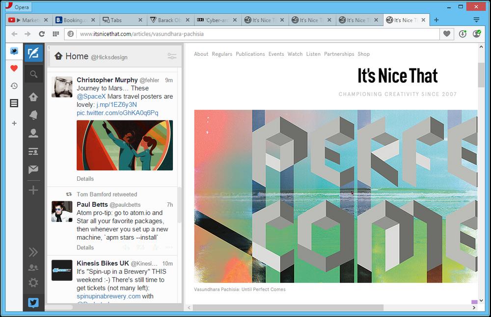 Opera får utvidelser på siden - her med Tweetdeck som eksempel.