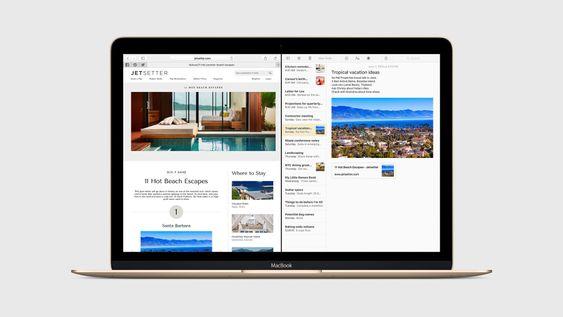 Apper kan kjøres side om side i OS X El Capitan.