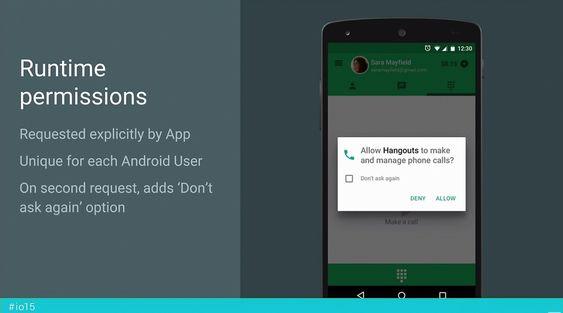 Apper utviklet for Android M, vil be om tillatelser ved behov under kjøringen.