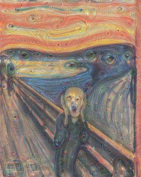 Bildet «Skrik» av Edvard Munch slik det tolkes av et nevralt nettverk hos Google.