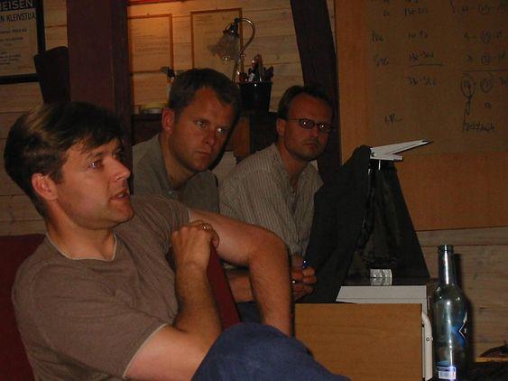 Lars Boilesen, Christian Jebsen og Håkon Wium Lie på seminar på Kleivstua i 2002.