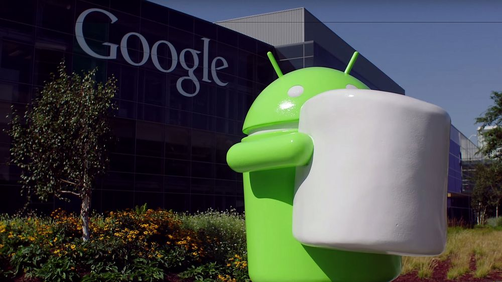 Android 6.0 Marshmallow-statue utenfor Google i Mountain View
