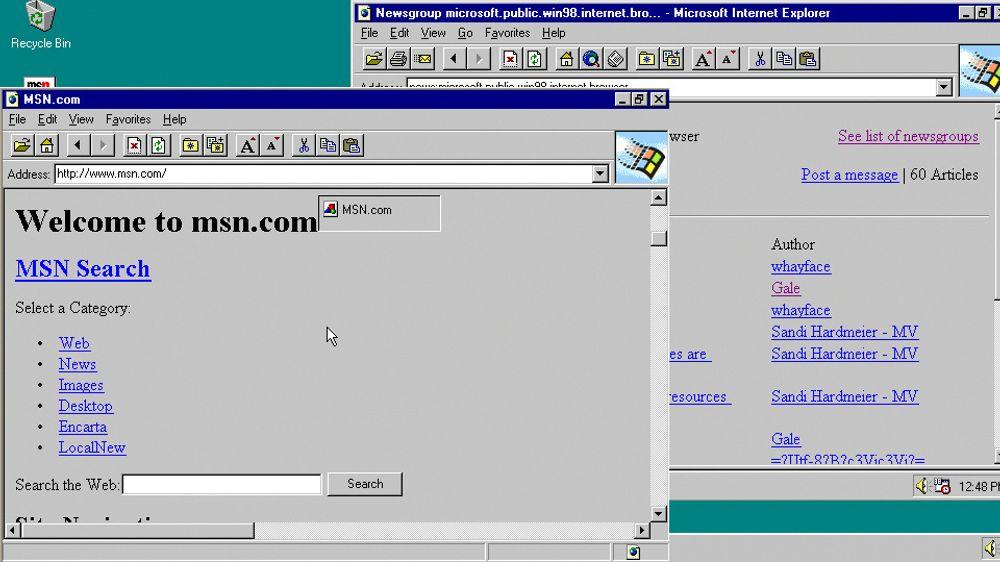 Internet Explorer 1 (til venstre) og 2 i Windows 95.