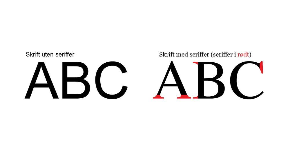 Eksempel på forskjellen mellom skrift med og uten seriffer.