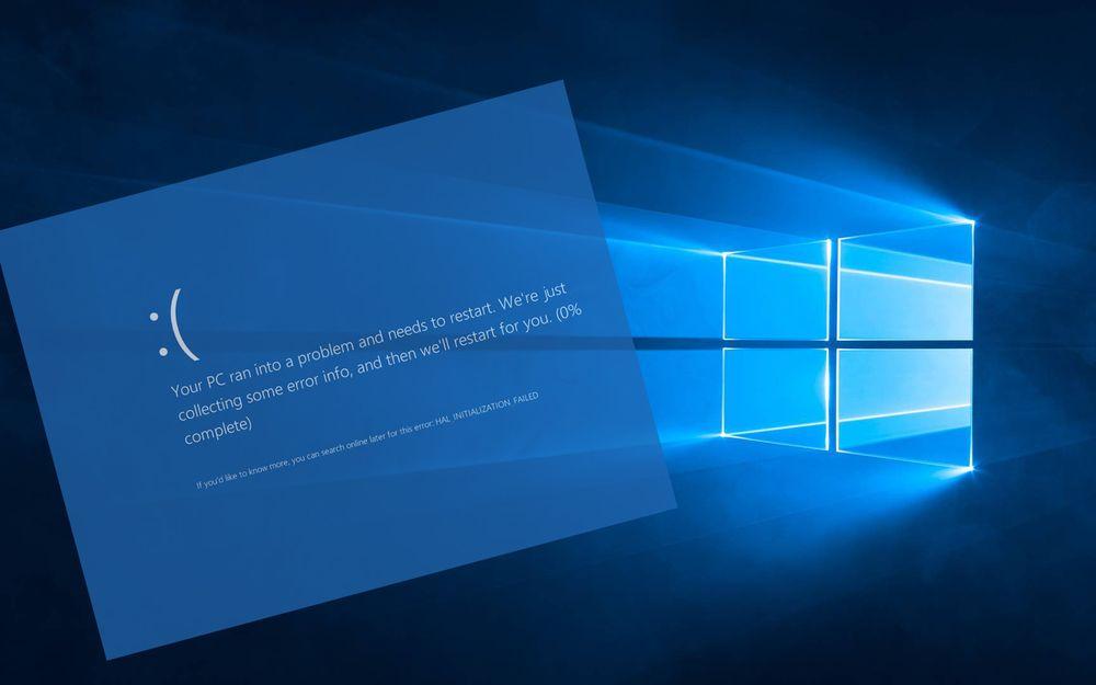 Eksempel på Windows 10-oppdatering som har feilet.