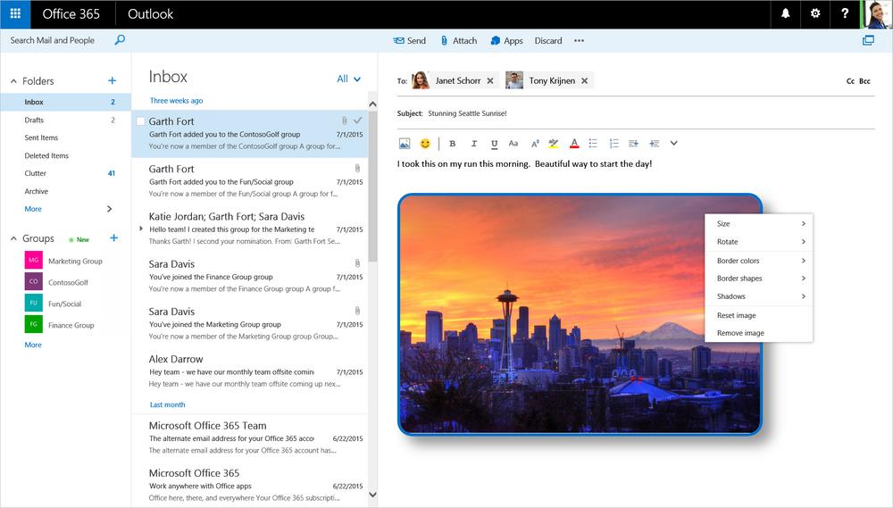 Det vil blil lettere å jobbe med visuelle vedlegg i nye web-Outlook.