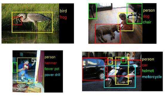 Eksempler på bilder og objekter som gjenkjennes i ImageNet-konkurransene.