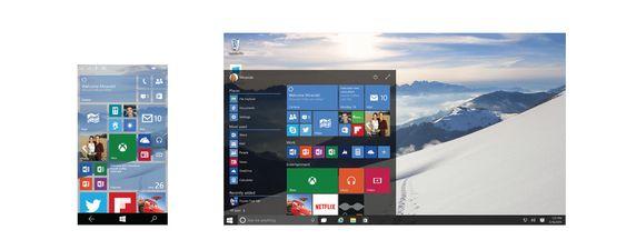 Startskjermen på nye Windows 10 - både på mobil og pc.