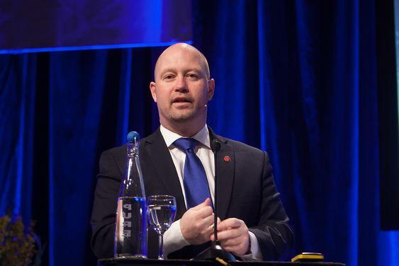 Justis- og beredskapsminister Anders Anundsen (Frp) under NSMs sikkerhetskonferanse 2015 i Oslo kongressenter.