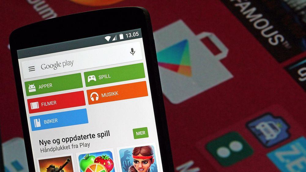 Det er store forskjeller på app-bruken på iOS og Android. Det viser 2015-rapporten fra App Annie. Bildet viser Google Play på en Android-mobil.