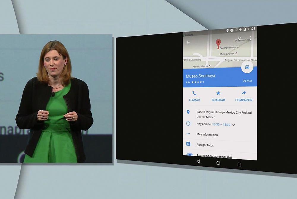 Teknologidirektør Jen Fitzpatrick fortalte under Google I/O 2015 at Google Maps-apper snart skal fungere bedre uten nettilgang. På bildet ser man at flymodus er aktivert på enheten som demonstreres.