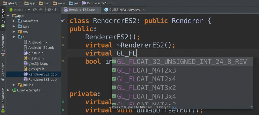 Android Studio v.1.3 kommer med støtte for C/C++.