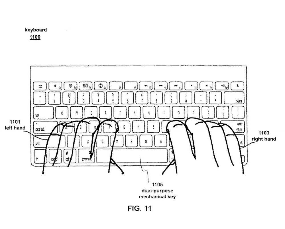 Dette er konseptet til Apple - tastaturet vil kunne lese fingerbevegelser, samtidig som det kan brukes på tradisjonell måte.